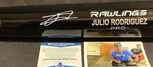Julio Rodriguez Seattle Mariners Autographed Signed Black Baseball Bat Beckett ROOKIE COA