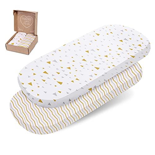 mimaDu 2 lenzuola con angoli elasticizzati, 70 x 35 fino a 90 x 40 cm, per culla, carrozzina, morbide lenzuola con angoli elasticizzati, 100% cotone Oeko-Tex Jersey – ovali o rettangolari