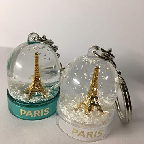 Vianaya - Set di 2 portachiavi mini palla di neve Paris Torre Eiffel con la vera neve, colori turchese e trasparenti, prodotto in Francia