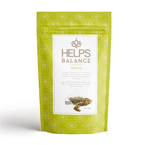 Helps Balance Ayurvédica Detox es una infusión detoxificante de riquísimo sabor a base de albahaca y jengibre con otras plantas perfecta para tu salud. Deliciosa infusión a base de Albahaca, trozos de manzana, piel de naranja, rooibos verde, trozos d...