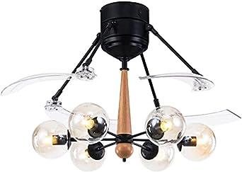 Ventilador de techo de bajo perfil Americano Invisible Techo Ventilador Luz de despegue Vidrio Vidrio 6 Luces Sala de estar nórdica Hogar Eléctrico Ventilador eléctrico Chandelier Techo Ventilador Lig
