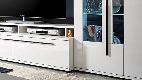 Wohnwand – Weiße Anbauwand mit LED-Beleuchtung Bild 2*