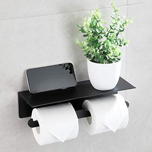 Wopeite Toilettenpapierhalter ohne Bohren Doppelter Klopapierhalter Papierhalter mit Ablage Papier Halterung für WC Badezimmer Toilette Aluminium Selbstklebend Matte Schwarz