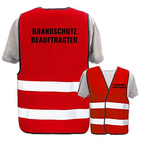 Bedruckte Warnwesten mit ISO-Leuchtstreifen * Standard- oder Reflex-Druck * Erste Hilfe und Brandschutz, Begriff:Brandschutzbeauftragter, Farbe + Größe:Rot (XL/XXL)