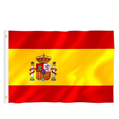 RYMALL Bandera España Grande, 2pcs Bandera de España, Resistente a la Intemperie, 90 x 150 cm