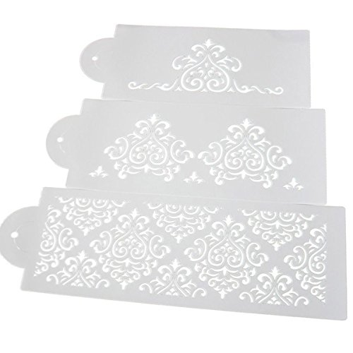 knowing 2Set 6 Stücke Plastik Kuchen Schablonen,DIY Kuchen Form Fondant,Hochzeitstorte-Schokoladen-Zucker-Sieb-Dekor-aufwändige Werkzeuge, Blumenmuster-Form, weiß
