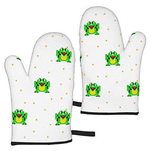 XCNGG Happy Frog Pixel Art - Manoplas para horno, suaves, antideslizantes, resistentes al calor, seguras para cocinar, hornear, barbacoa, fiesta, cocina, microondas, horno divertido hogar