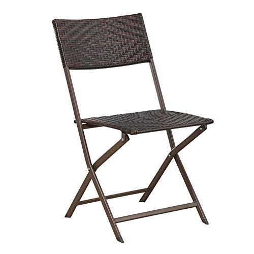 QIDI Balcon Chaise en Plein Air Chaise De Plage Chaise Pliante Chaise en Rotin en Métal Simple Moderne Pliable Loisirs Thé Boutique Patio (Taille : One)