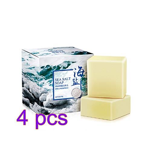 SKYSE Sapone al sale marino, saponetta naturale con latte di capra Idratante Detergente per il viso Rimozione del sapone Brufolo Pori termoretraibili per tutta la pelle