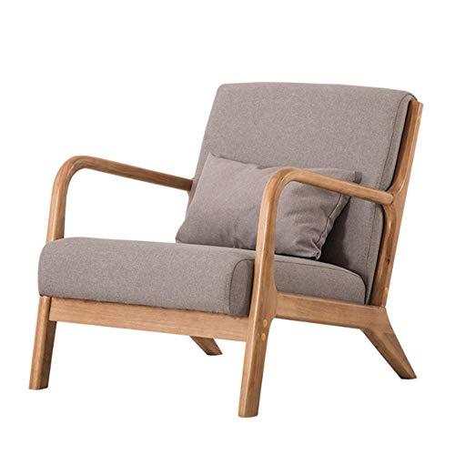 NNDQ Moderner Mid-Century Sessel aus Holz, mit Stoff bezogen, handpoliert, elegant und natürlich, für Schlafzimmer, Wohnzimmer, Balkon