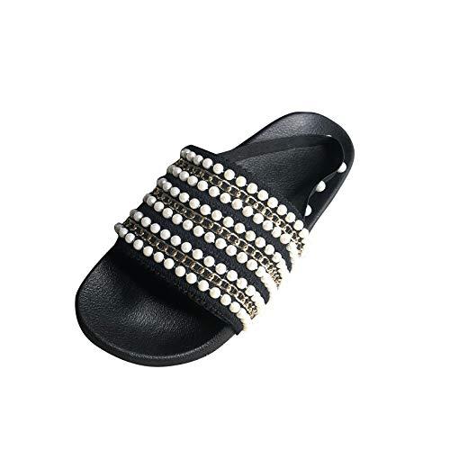 Sandali da donna Slip-On Cinturino regolabile Fibbia Pantofola Plantare Zeppe Flip-Flop Sandalo in sughero Comfort Scarpe estive leggere e carine (U18-Black,37)
