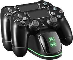PICTEK Cargador Mando PS4, Soporte Mando ps4 USB con LED Indicador, Estación de Carga ps4, Compatible con Playstation4,...