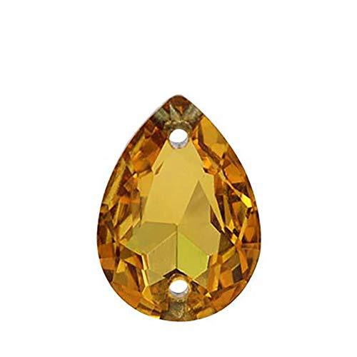 ENCOCO50 piezas de lágrima para coser en diamantes de imitación, parte trasera plana, gotas de agua, piedras de plástico para bisutería, ropa, decoración de vestidos de boda, Dorado, 18 * 25mm