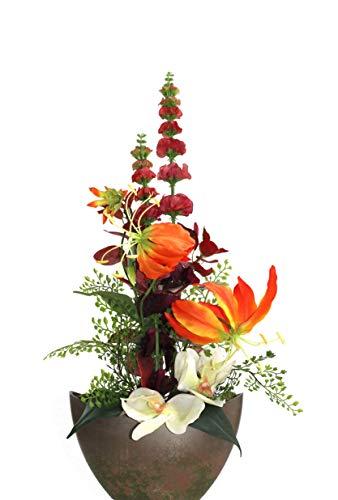 Liatris Floristik Gloriosa, luxuriöse Kunstblume im Topf, Seidenblume inkl. hochwertigen Topf Rostoptik, Dekoration Wohnung modern