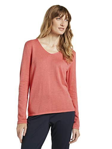TOM TAILOR Damen Basic Langarmshirt Sweatshirt, 26203-Strong Peach Melange, M
