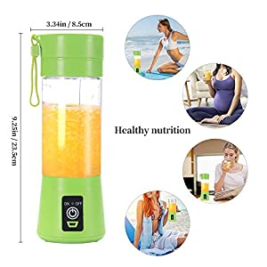 Portable Blender Cup,Electric USB Juicer Blender,Mini Blender Portable Blender For Shakes and Smoothies, juice,380ml, Six Blades Great for Mixing,green