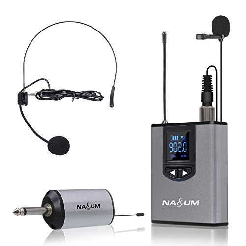Wireless Headset Lavalier Microphone System NASUM Wireless Lapel Mic with Bodypack Transmitter for iPhone, DSLR Camera, YouTube, Podcast, Vlog, Church, Interview, Teaching, PA Speaker, Video Recording