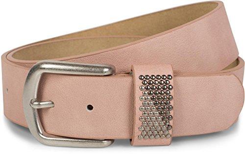 styleBREAKER Gürtel mit zweifarbigen Nieten an der Schlaufe, Nietengürtel, kürzbar, Unisex 03010088, Größe:90cm, Farbe:Altrose