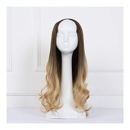 Bin Zhang Morceau perruque cheveux longs bouclés femme grande vague d'une perruque invisible striée dégradé de couleur transparente choisir postiche c