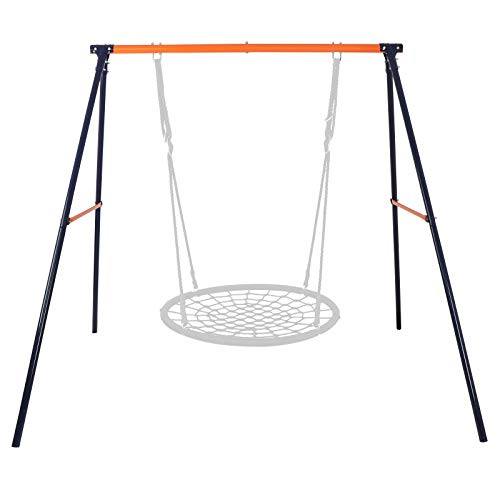 """SUPER DEAL Extra Large Heavy Duty All-Steel All Weather A-Frame Swing Frame Set Metal Swing Stand with Ground Stakes, 72"""" Height 87"""" Length, Fits for Most Swings, Fun for Kids Outdoor Backyard"""