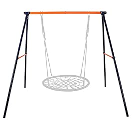 SUPER DEAL Extra Large Heavy Duty All-Steel All Weather A-Frame Swing Frame Set Metal Swing Stand, 72″ Height 87″ Length, Fits for Most Swings, Fun for Kids (Swing Frame)