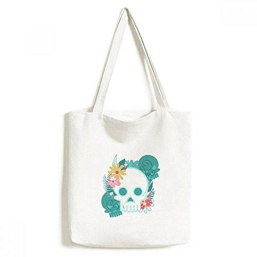 Bolsa de lona com ilustrações de crânio morto morto do México bolsa de compras casual bolsa