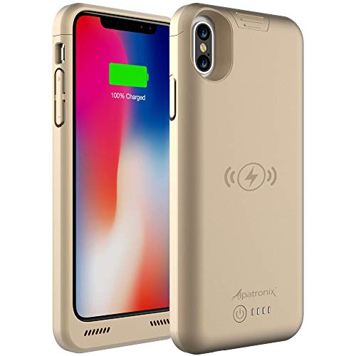 iPhone Xs/X Battery Case, 4200mAh Slim Portable Protective Extended Charger Cover with Wireless Charging Compatible with iPhone Xs & iPhone X (5.8 inch) BXX - (Gold)