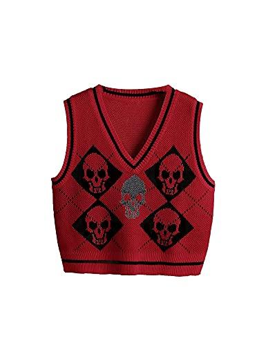Suéter Chaleco Mujer, Chaleco de Punto Gótico, Esqueleto y Argyle Impreso Suéter De Punto De Las Mujeres Sin Mangas, rojo vino, S
