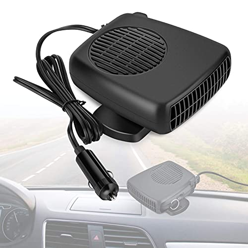 Portable Car Heater 12V Car Defogger Heater Fan, 2 in 1 Cooling and Heating Fan Vehicle Electronic Air Heater Defroster Handheld Automobile Windscreen Fan Demister Defroster Into Cigarette Lighter