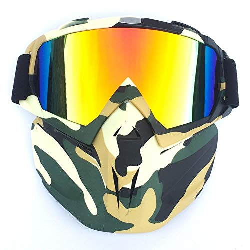 Masque de Ski vélo Moto Visage Lunettes Motocross Moto Moteur Open Face Amovible Goggle Casques Vintage Lunettes (Section E)