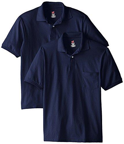 Hanes Men's Cotton-Blend EcoSmart Pocket Jersey Polo_Navy_4XL