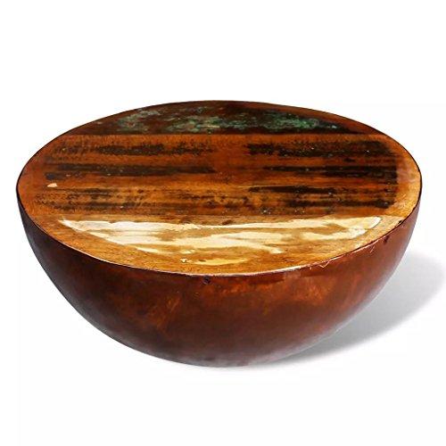 Lingjiushopping Table Basse Ronde en Bois Massif recyclé avec Base en Acier Dimensions totales : 60 x 28 cm (di ¨ Metro X Haut) matérielle du Tableau : Bois Massif recyclé