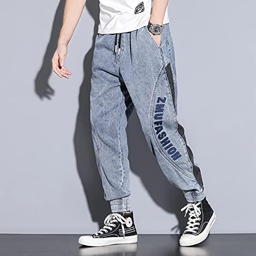 ShFhhwrl Jeans Mens Jeans Elasticity Men Jeans Pantalones Hip Hop High Street Chrome Jeans Loose Student Straight Casual Pantalones XXXL Bl