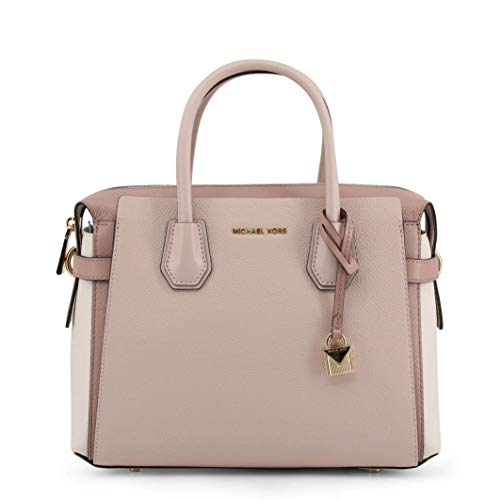 Pink Leather Michael Kors Bag Textured Finish Gold Branded Hardware Twin Handles