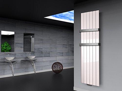 Badheizkörper Design Peking 3, HxB: 180 x 47 cm, 1118 Watt weiß + 2 Handtuchhalter (50mm) (Marke: Szagato) Made in Germany/Bad und Wohnraum-Heizkörper (Mittelanschluss)