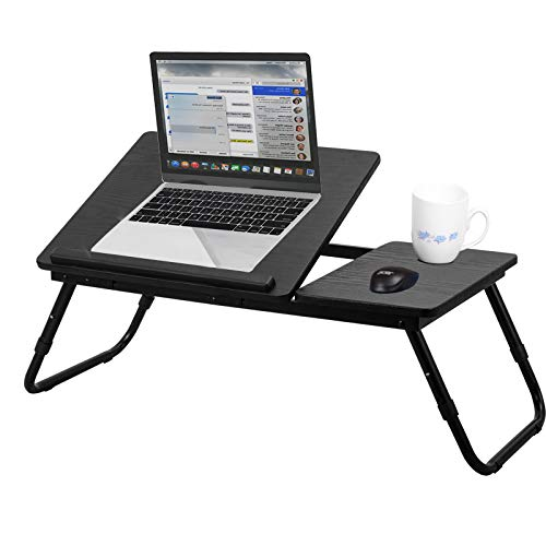 Voilamart Laptop Bed Desk Ergonomic Laptop Tray Table Adjustable Laptop Table Stand for Sofa Garden with Mouse Board and Anti-Slip Bar for Up to 17' Notebook (Black)