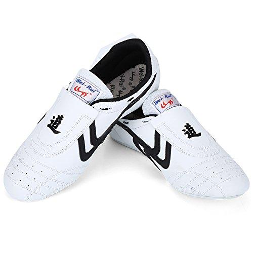 Zapatos de Taekwondo, Zapatos Antideslizantes de Artes Marciales, Artes Marciales Zapatilla de Deporte de Boxeo Karate Kung Fu Zapatos de Tai Chi de Rayas Negras Ligeros para Hombres Mujeres Niños(42)