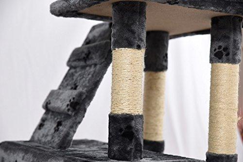 Lethzer Kratzbaum Katzenbaum Katzenkratzbaum mit Höhle Kletterleiter Liegeplattform Spielelemente 175cm hoch in Farbe Braun mit Pfotenabdruck - 3