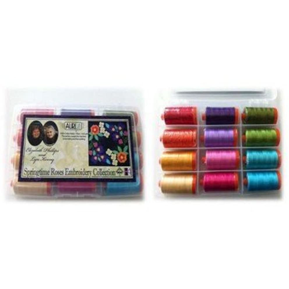 Aurifil Springtime Roses Embroidery Collection Thread Gift Set: 12 Large spools of 50wt Cotton