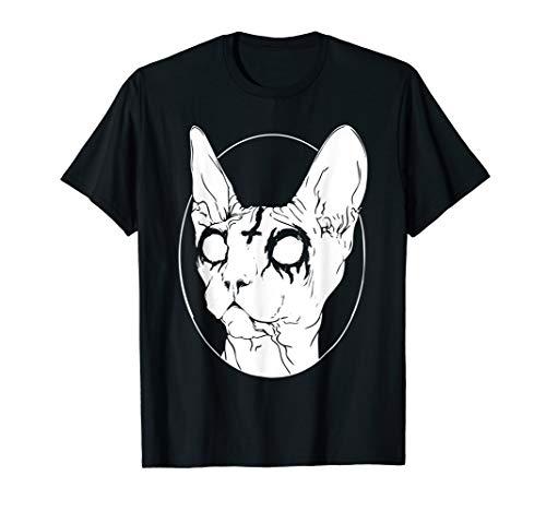 Goth and Death Metal T-shirts - Black Metal Sphynx Cat