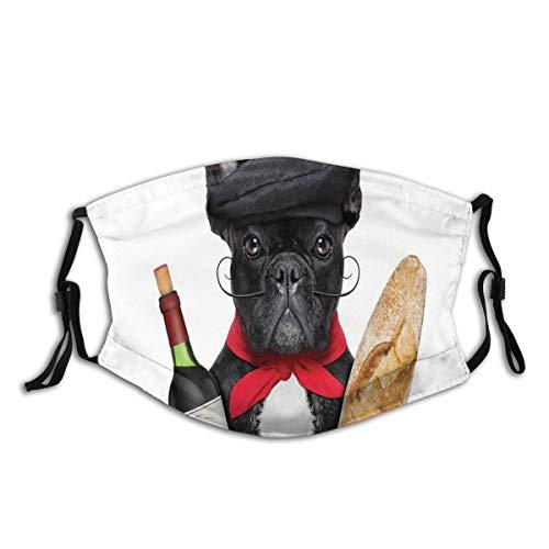 Popsastaresa Französischer Hund in einem Hut mit Rotwein und Baguette-Brot-Gourmet-Parisienne-Tier,StaubwaschbarerwiederverwendbarerFilterundwiederverwendbarerMundschutzgesicht