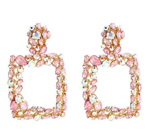LilifenSJBDHY Pendientes de Las Mujeres Tyui 2 Pares Cuadrado Retro geométrico del Taladro Pendientes Inserción (Blanco) (Color : Rosado)