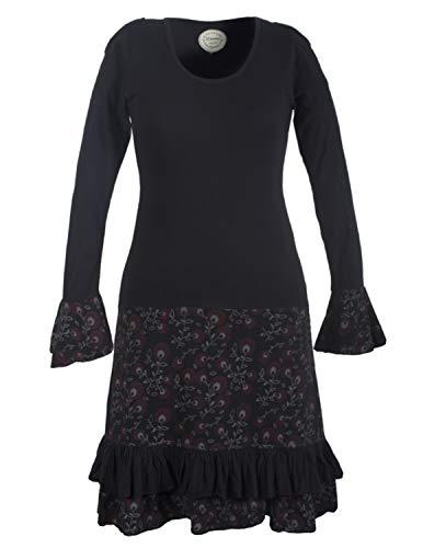 Vishes - Alternative Bekleidung - Langarm Herbst Damen Blümchenkleid aus Baumwolle mit Rüschen schwarz 40