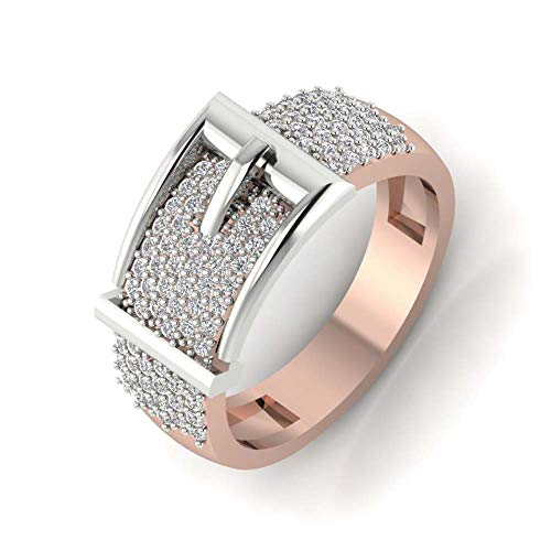 0.58ctw Round Cut D/VVS1 Diamond Belt-Shaped 14K Rose Gold Plated Mens Ring Wedding Band 925 Sterling Silver