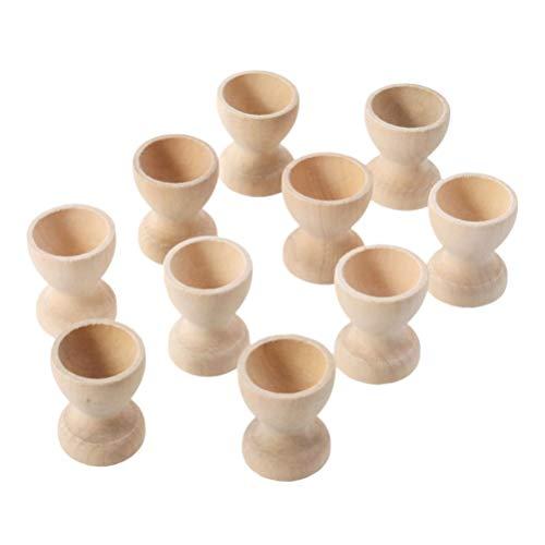 PRETYZOOM 12 Stücke Holz Eierbecher zum Bemalen Ostereier Eierständer Eierhalter Eierablage Eierbehälter Eierkocher Eier Dampfgarer Halter Ständer für Kinder Basteln Frühstück Ostern Geschenke
