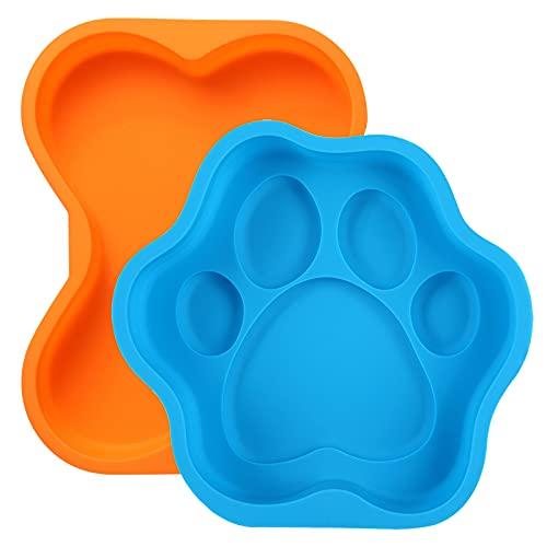 2Pcs Dog Birthday Cake Pans,Including 8 Inch Silicone Dog Bone Shape and 8 Inch Dog Paw Shape Cake Pan Mold