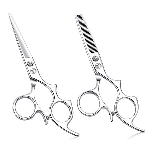 "Moontay 5.5"" Hair Cutting Shears Set with Large Finger Holes, Professional Barber Stylist Thinning Shears, Salon Hair Cutting Scissors, 440C Japanese Stainless Steel, Silver"