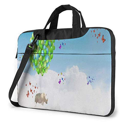 Balloon Rhino Flying Sky Laptop Case 13 Inch Carrying Case Slim Water Repellent Briefcase Work Business Messenger Shoulder Bag with Strap