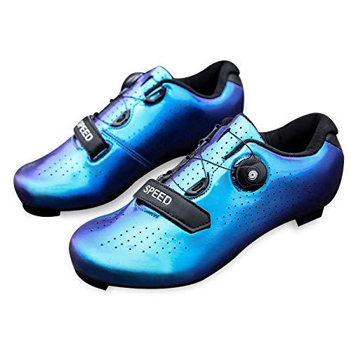 Honeyhouse Scarpe da Bici da Strada da Uomo Scarpe da Ciclismo con Tacchetti Compatibili Scarpa Peloton Con SPD e Delta per Scarpe da Ciclismo con Pedale di Bloccaggio da uomo (EU42-UK8.5,Blue)