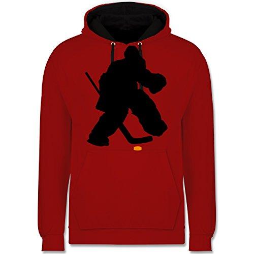 Shirtracer Eishockey - Eishockeytorwart Towart Eishockey - L - Rot/Schwarz - Winter - JH003 - Hoodie zweifarbig und Kapuzenpullover für Herren und Damen
